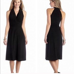 Evan Picone Black Beaded Halter Dress Sz 14